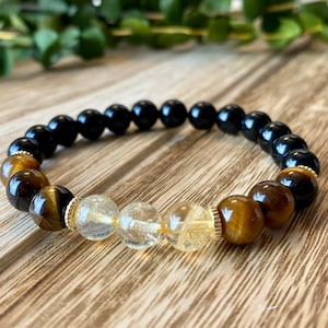 8mm Yellow Blue Tiger Eye Beaded Macrame Bracelet with A Crowned Lion Head Micro Pave CZ Bead