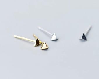 Ultra Tiny Triangular Silver Stud Earrings. Minimalist & dainty hypoallergenic Triangle small Earrings. Yellow Gold/Silver Finished Earrings