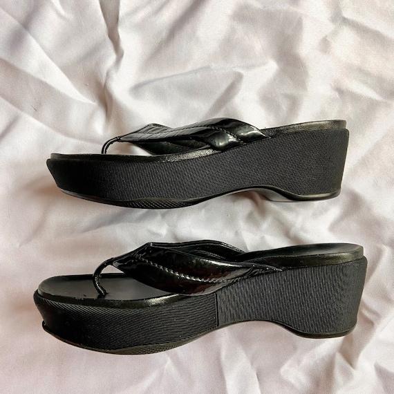 Vintage 90's Black Prada Platform Sandals - image 2