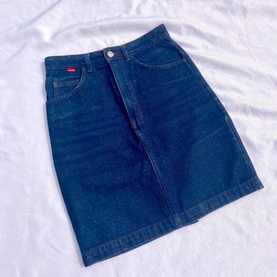 Vintage 80's Jeanjer Dark Wash Denim Skirt