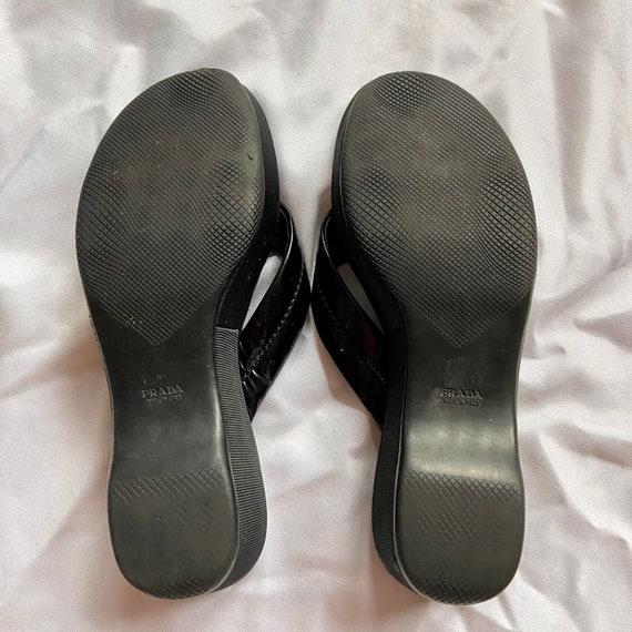 Vintage 90's Black Prada Platform Sandals - image 4