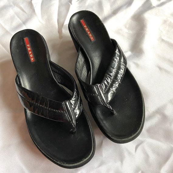 Vintage 90's Black Prada Platform Sandals - image 1