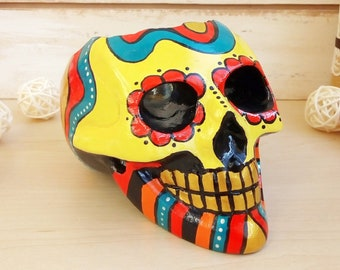 Skulls Decorations Durable Leather Shoes,Mexican Folk Art Skulls and Roses Knitted Pattern for Women,US 5