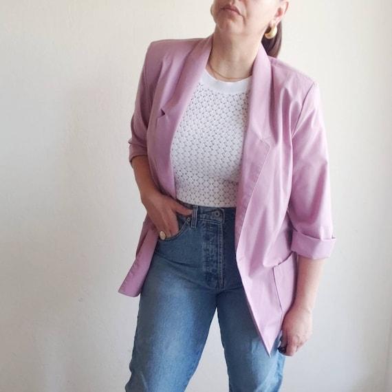 Vintage 80s Lilac Boxy Blazer Pockets Oversized