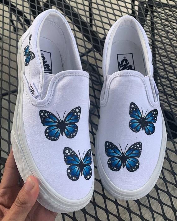 Custom Hand-Painted Butterfly White