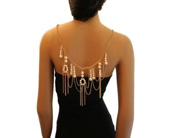 Gold Pearl Metal Body Chain Necklace - Body Jewellery - Shoulder Jewellery  - Chic Body Jewelry - Wedding Jewellery - Bridal Jewellery
