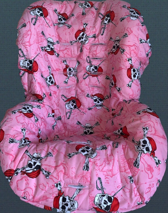 Peachy Pink Pirate Skulls Toddler Car Seat Cover Ooak Dailytribune Chair Design For Home Dailytribuneorg
