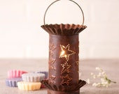 Mini Wax Warmer with Country Star in Rustic Tin