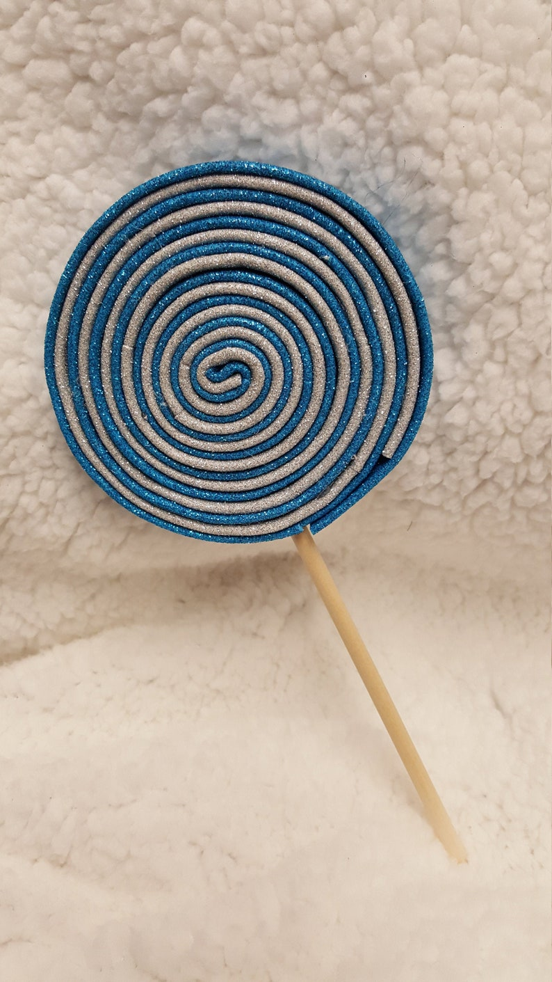 Christmas Wreath AttachmentEmbellishment Turquoise and Silver Fake Glitter Foam Swirly Lollipop