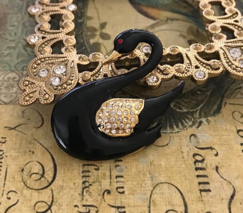 Assemblage Jewelry Vintage Rhinestone Enamel Swan Brooch Animal Brooch Victorian Enamel Brooch
