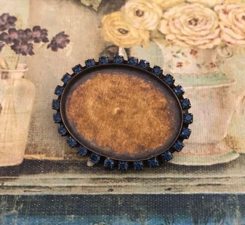 Made in USA Vintage Rhinestone Setting 40x30mm Cabochon Settings Vintage Cabochon Setting