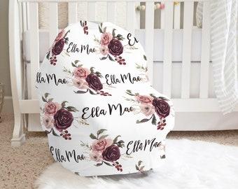 Nursery design idea Boho carseat tent Babyshower gift idea Girl carseat canopy Newborn carseat Shabby boho flower carseat cover