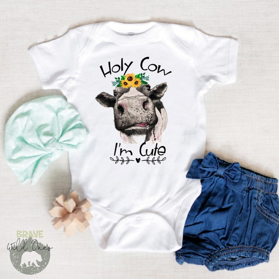 Holy Cow Cute Baby Onesie Bodysuit Clothes Funny Shower Gift Girl Boy Custom