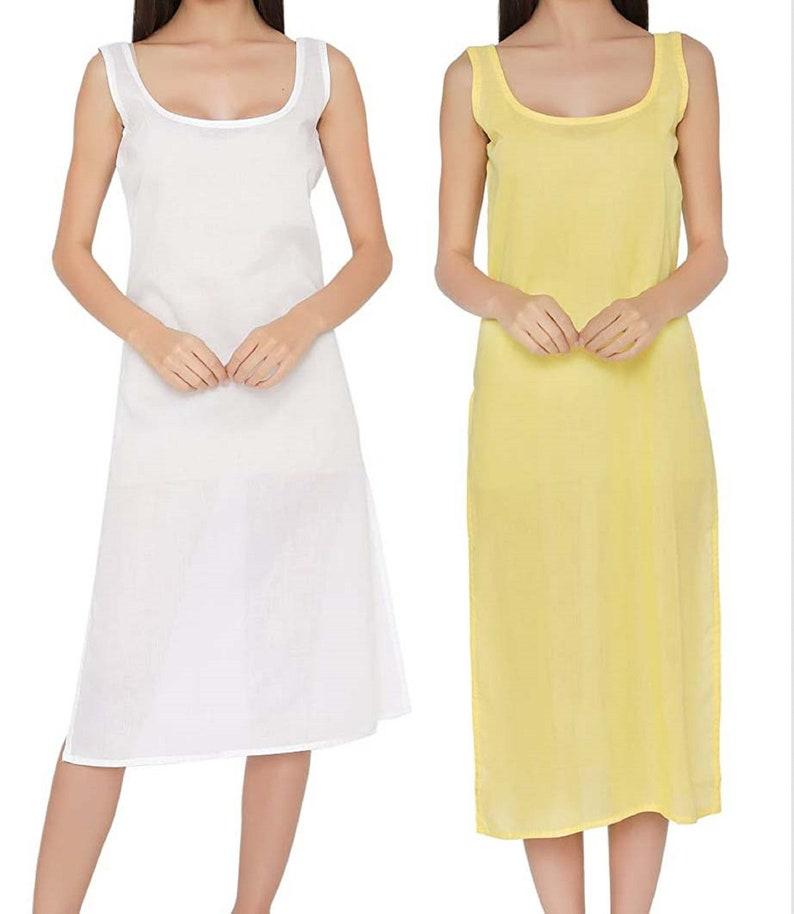 nAzAqAt Long kurta inner knee length slip for kurta camisole dress  cotton camisole  cotton sleep dress  cotton cami dress for ladies