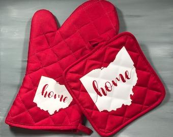 New Handmade NCAA Ohio State University Buckeyes Grill Oven Mitt LEFT HANDED Cook Gift idea
