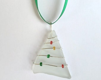 Recycled Glass Christmas Tree Ornament