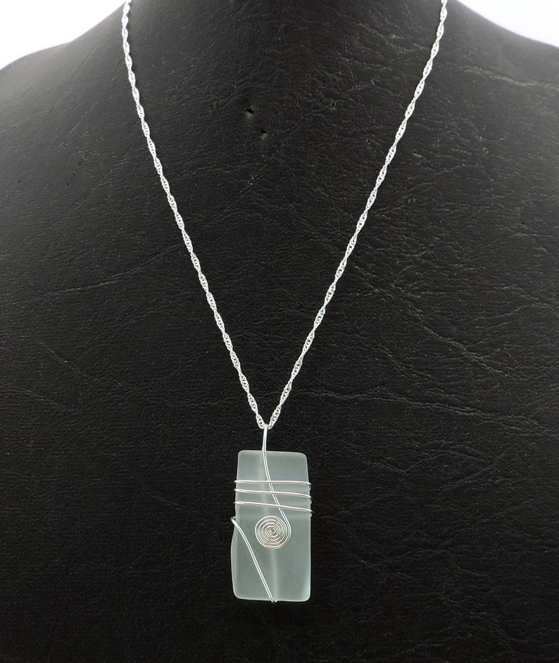 Wire Wrapped Recycled Glass Necklace image 0