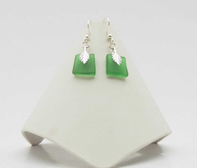Silver Leaf Recycled Glass Earring image 0