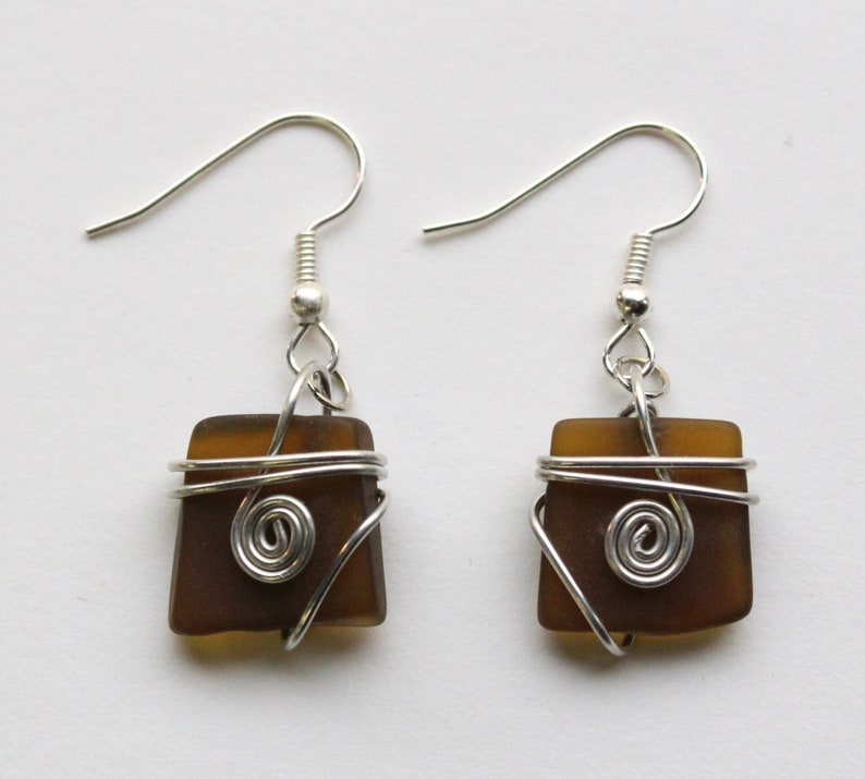Wire Wrapped Recycled Glass Earring image 0