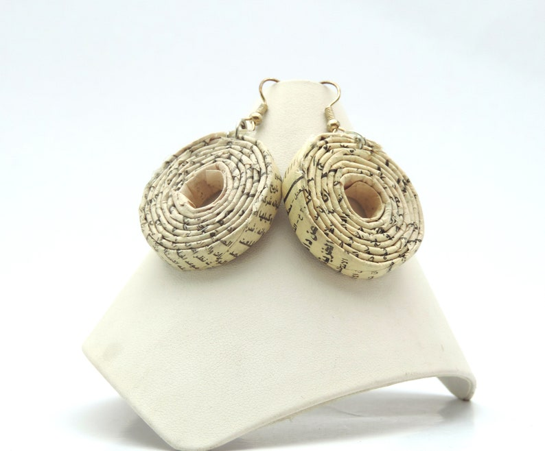 Recycled Newspaper Coil Earrings image 0