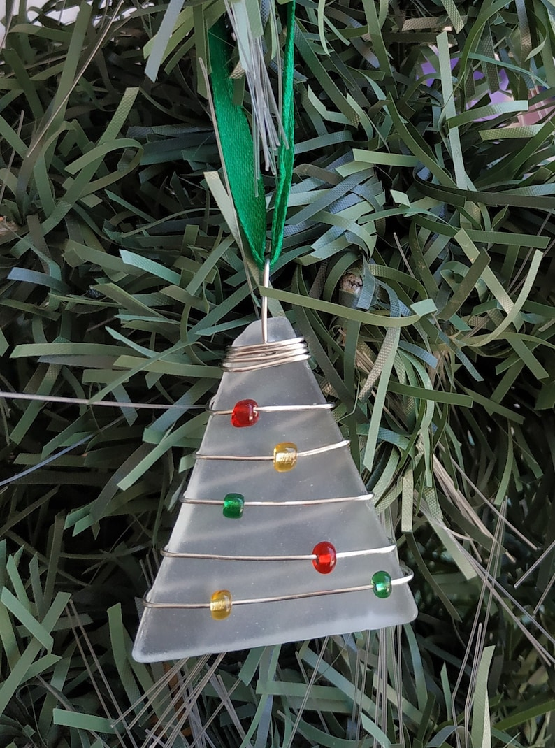 Recycled Glass Christmas Tree Ornament image 0