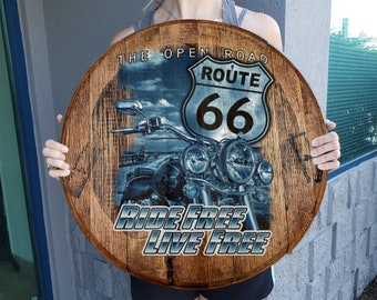 Route 66 Flag USA HANDLE Drawer Pull Man Cave Garage America Travel Highway