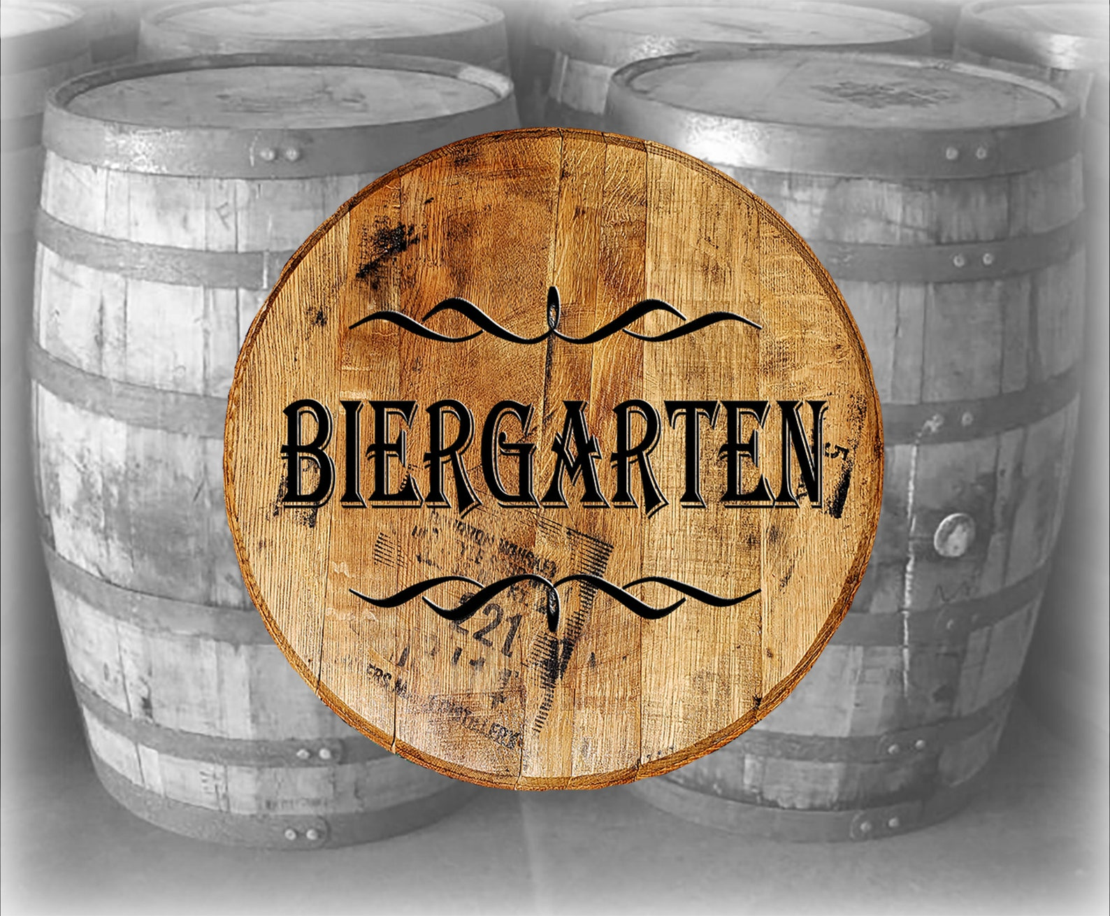 Reclaimed Wood Whiskey Barrel Head Biergarten German