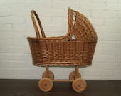 Vintage rattan wicker and wood doll stroller pram