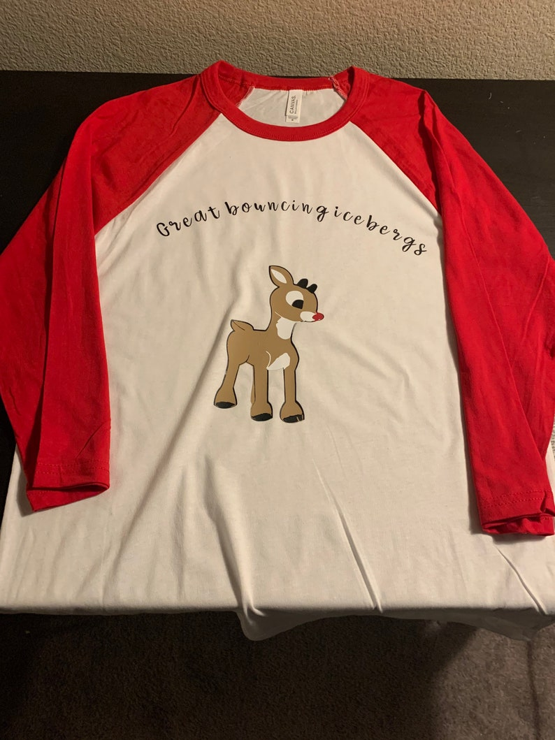 Rudolph The Red Nosed Reindeer Inspired Baseball Tee