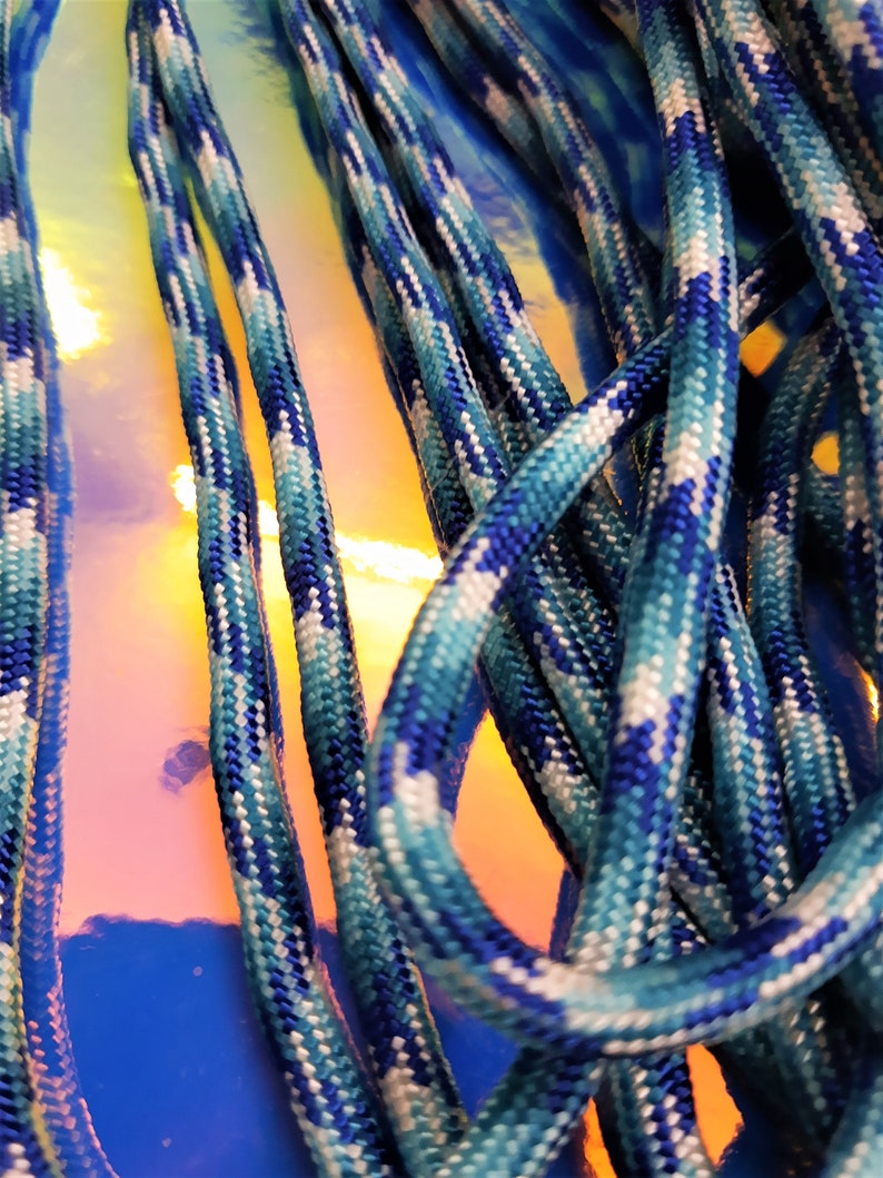 Blue and White Paracord 550 Nylon 4 mm Craft Cord Supply 10 Foot 20 Foot or 50 Foot Hank