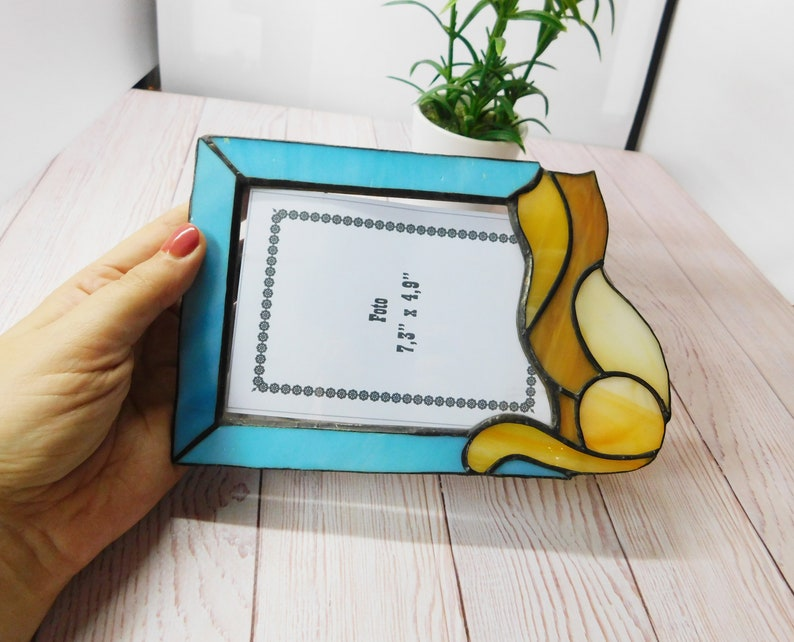 Stained Glass Home Decor Beautiful Gift To Baby Cute Glass Cat Color Photo Frame Cute Stained Glass Photo Frame With Cat