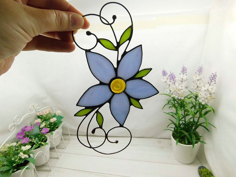 Glass purple flower Suncatcher Stained Glass Art Window hangings stained glass decor Flower Home decor Gift floral decor for the garden