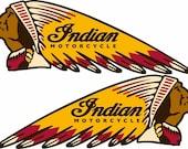 Indian Motorcycles War Bonnet Vinyl Decal Sticker Helmet Bike Club USA 7 quot