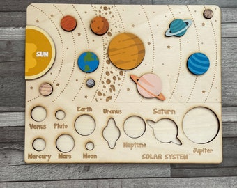 Solar system puzzle, Space Puzzle, Space, Wooden planetary system puzzle, Montessori toys for Kids, Educational toy,Personalized puzzle