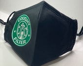 Coughy Filter - Starbucks inspired Face Mask- adjustable straps!
