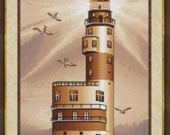 Lighthouse Aniva Counted Crosss Stitch Pattern in Sepia