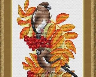Bullfinch on the Rowan Counted Cross Stitch Pattern, Autmn Embroidery Bullfinch