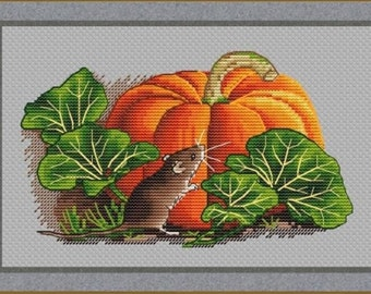 Mouse and Pumpkin Counted Cross Stitch Pattern   Embroidery Pattern