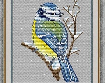 Blue Tit Counted Cross Stitch Pattern   Winter Bird Embroidery Pattern