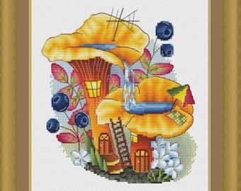 Mushroom House Counted Cross Stitch Pattern, Chanterelle Cross Stitch Chart