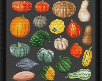 Pumpkins Counted Cross Stitch Pattern   Thanksgiving Cross Stitch  Chart   Halloween Home Decoration