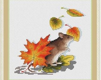 Autumn Mouse Cross Stitch Pattern PDF, Mouse Embroidery Cross Stitch Chart