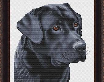Black Labrador Counted Cross Stitch Pattern