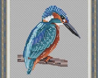 Common Kingfisher Counted Cross Stitch Pattern   Small Summer Bird Cross Stitch Chart