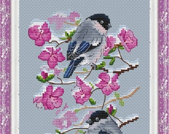 Bullfinches on Wild Rosemary Counted Cross Stitch Pattern, Bullfinches in Spring