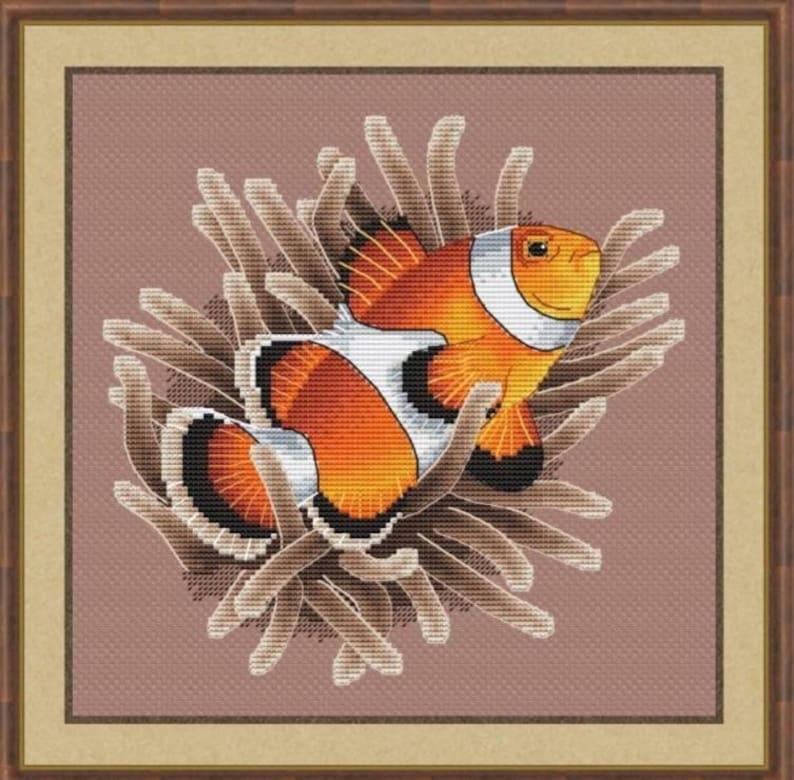 Clownfish Counted Cross Stitch Pattern Anemonefish Embroidery image 0