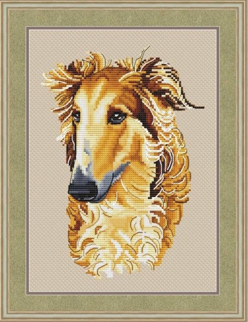 Russian Greyhound Borzoi Counted Cross Stitch Pattern Russian image 0