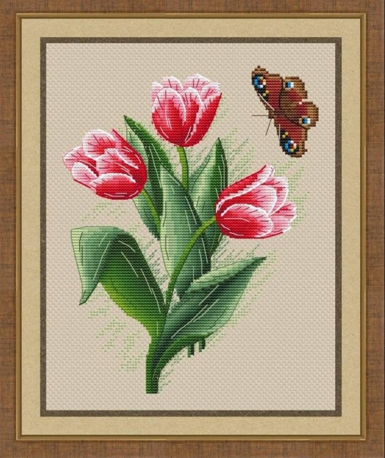 Tulips with a Butterfly Counted Cross Stitch Pattern Spring image 0