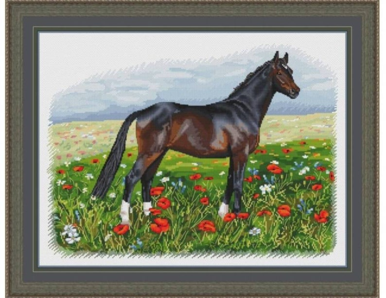 Summer Horse Count Cross Stitch Pattern Horse Embroidery image 0
