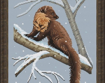 Marten Cross Stitch Pattern   Winter Animal Cross Stitch Chart